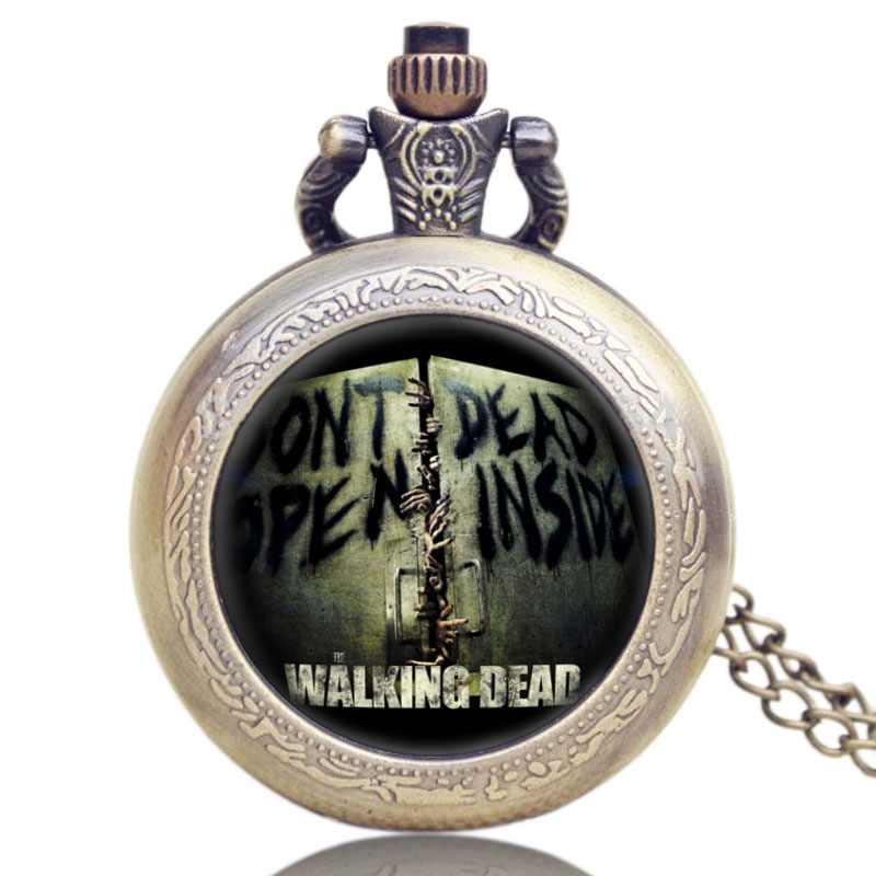 Men Quartz Pocket Watch Hot American Drama The Walking Dead Glass Dome Case Creative Design Women Vintage Necklace Pendant european and american movies aladdin and the magic lamp quartz pocket watch do the old flip quartz watch chain table ds274