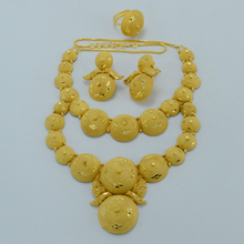 Middle East Wedding Jewelry sets Necklace/Earrings/Free Size Ring Indian Gift/African/Dubai Bride Jewellery Mom Gifts #003123