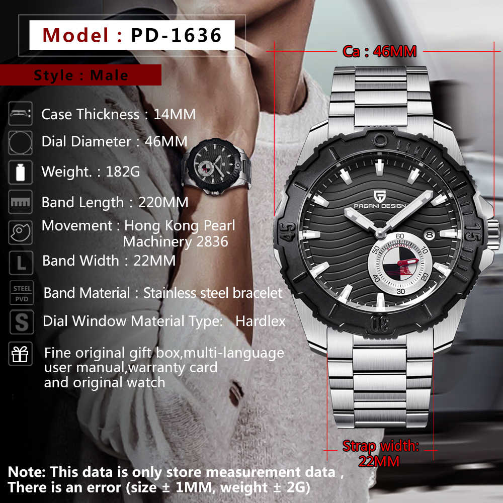 2018 新ファッション機械式メンズ腕時計高級ブランドパガーニデザインステンレス鋼スポーツ防水男性腕時計ドロップシッピング