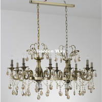 Modern European Bronze Color Chandelier Antique Brass Crystal Chandelier Lamp Crystal Lustre Light Fixture Villa Cristal Light