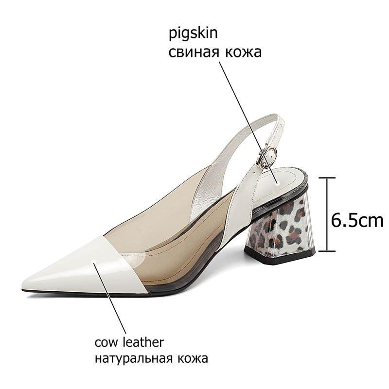 ALLBITEFO سميكة كعب كامل جلد طبيعي وأشار اصبع القدم عالية الكعب النساء الصنادل عالية الجودة حذاء نسائي ذو كعب عالٍ الصيف الصنادل-في كعب عالي من أحذية على  مجموعة 3