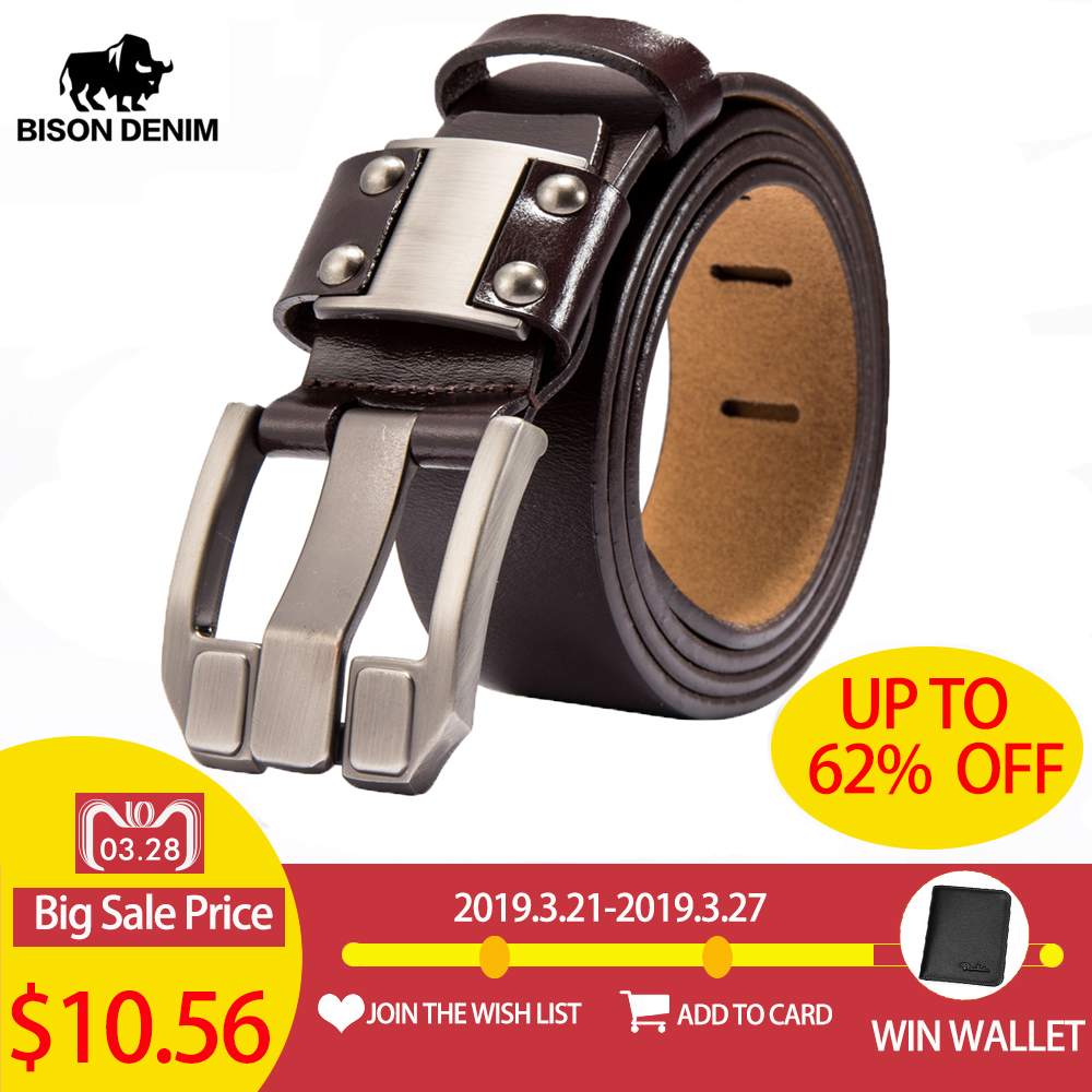 BISON DENIM Men's Jeans   Belts   Pin Buckle Cowhide Genuine Leather   Belts   Vintage Brand Waistband Strap   Belt   For Men Male N71350