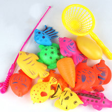13 Pieces Children Educational Bath Toys Fishing Set 26*17*13cm Plastic Magnetic Fish Toys Hot Sales(China)