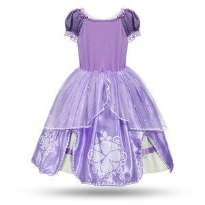 Image 2 - MUABABY Disfraz de princesa de 5 capas para niña, traje Floral para fiesta de Halloween