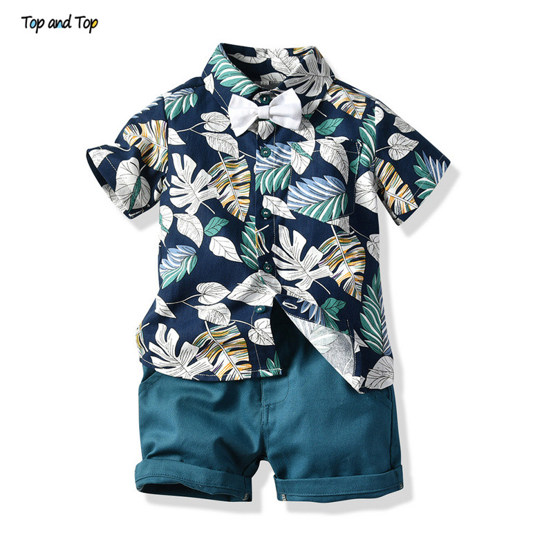 Top And Top Boy Clothing Set Summer Fashion Floral Short Sleeve Bowtie Shirt+Shorts Boys Casual Clothes Gentleman 2Pcs Suit(China)