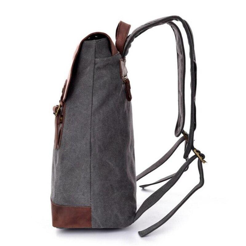 High Quality Vintage Backpack for Men Teenagers School Back Pack Canvas Crazy Horse Leather Women Laptop Bagpack Travel Bag P209