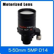 Моторный 5-мегапиксельный варифокальный объектив 5-50 мм D14 с креплением на большие расстояния с моторизованным зумом и фокусом для 1080 P/5MP AHD/IP камеры