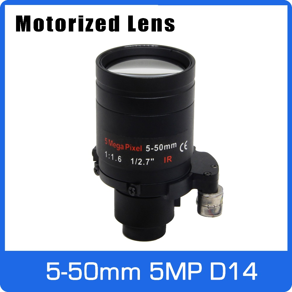 Motor 5Megapixel Varifocal Lens 5-50mm D14 Mount Long Distance View With Motorized Zoom And Focus For 1080P/5MP AHD/IP Camera
