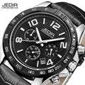 Jedir 2014 marca de moda de lujo de cuero negro deportes reloj de cuarzo de los hombres militares del ejército cronógrafo de pulsera relojes de hombre relojes de pulsera