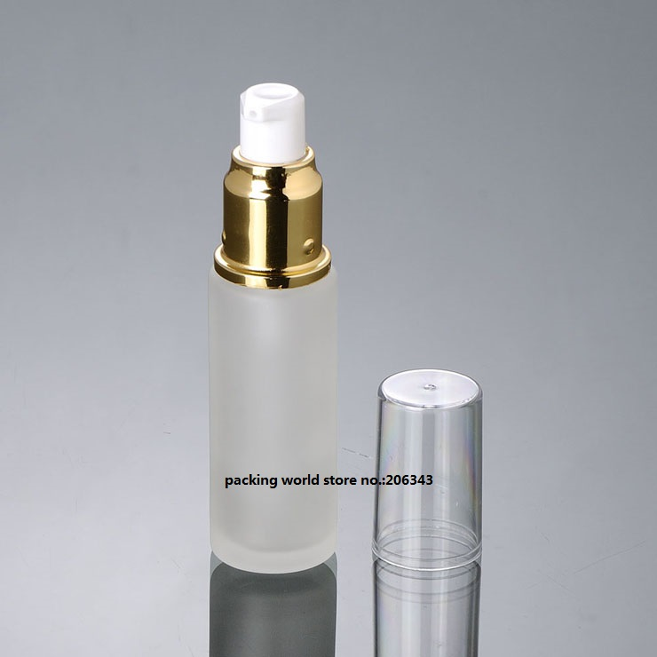 30 мл матовое стекло бутылка с серебряным/золотым пресс-насос для лосьона/эмульсии/сыворотки/тонера/косметика для ухода за кожей упаковка
