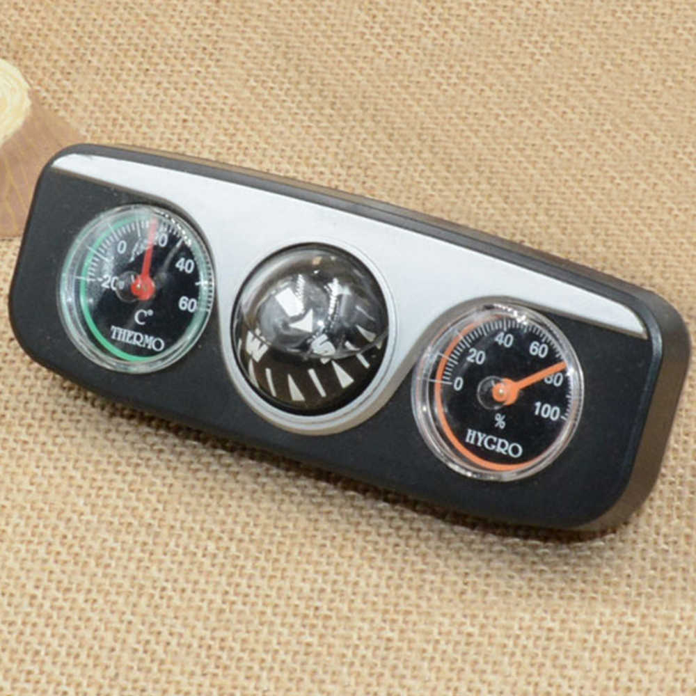 Car Compass Thermometer Hygrometer 3 in 1 Multi Functional Car Ornaments Auto Boat Vehicles Car Interior Accessories