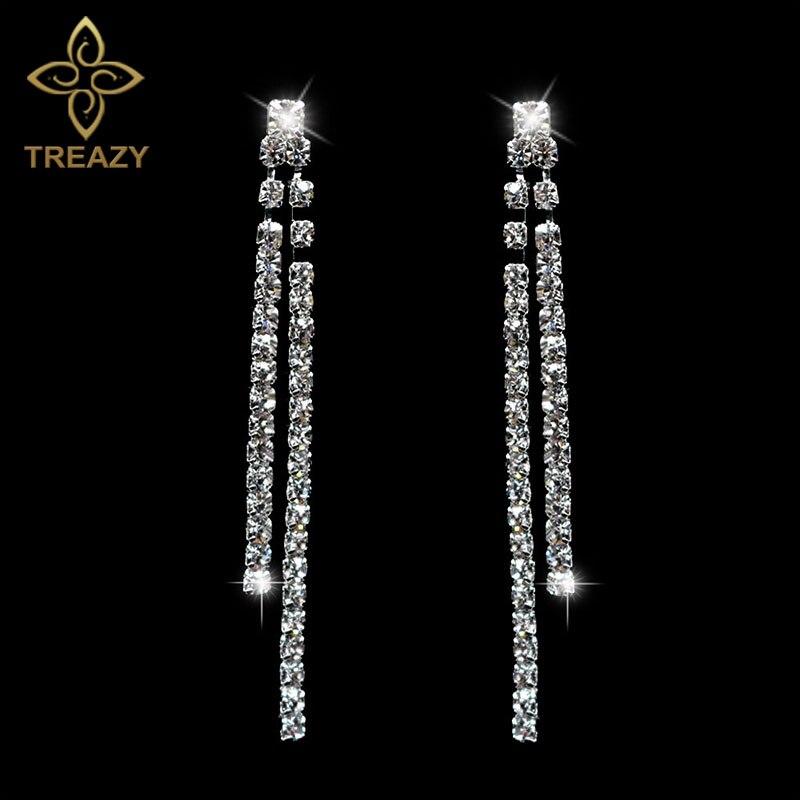 Largo Pendientes Diamante Nupcial Borla Diamantes de Imitación Plata Regalo de Cristal Colgante