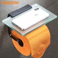 Glass Black Mobile Phone Paper Roll Rack Shelf Bathroom Kitchen Bath Space Aluminum Toilet Wc Holder Storage Blackroll MB0015