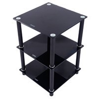 3 Tiers Square Glass Table Stand Side Shelf Storage Home Furniture Black