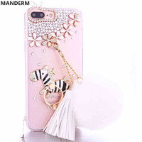 Diamond case cover for iphone 7 plus case Plush ball chain tassel stand holder cover for iphone 7 plus silicone 5.5