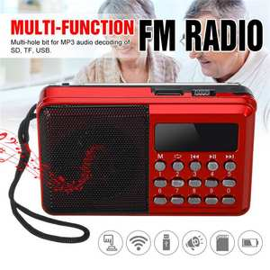 Portable Radio Handheld Digital FM USB TF MP3 Player Radio Receiver DC 5V 0.5A Speaker USB Charging Cable