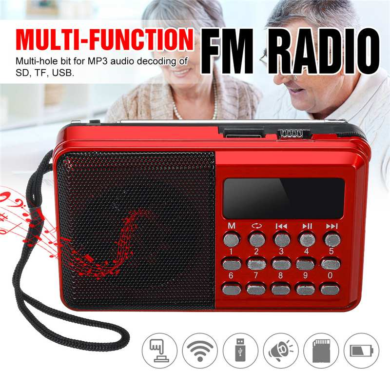 Portable Radio Handheld Digital FM USB TF MP3 Player Radio Receiver DC 5V 0.5A Speaker USB Charging Cable