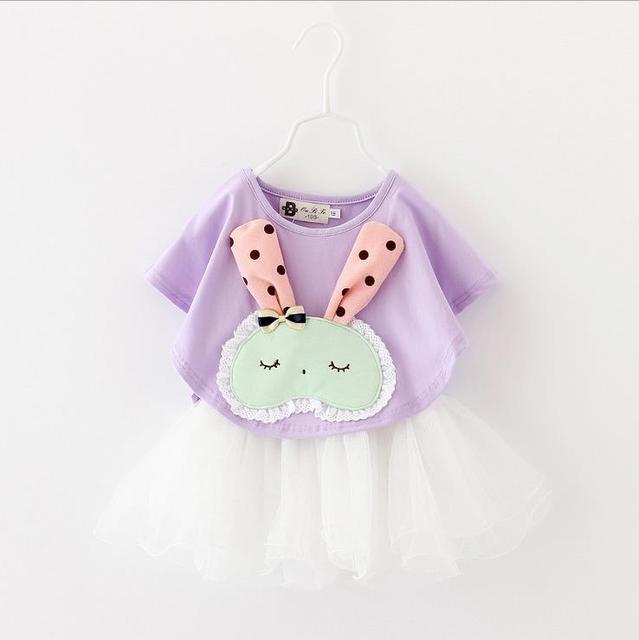 2016 conjuntos de roupas de verão Meninas Do Bebê vestido de malha + T-camisa 2 pcs newborn vestido conjunto padrão de coelho dos desenhos animados adequar a roupa dos miúdos roupas
