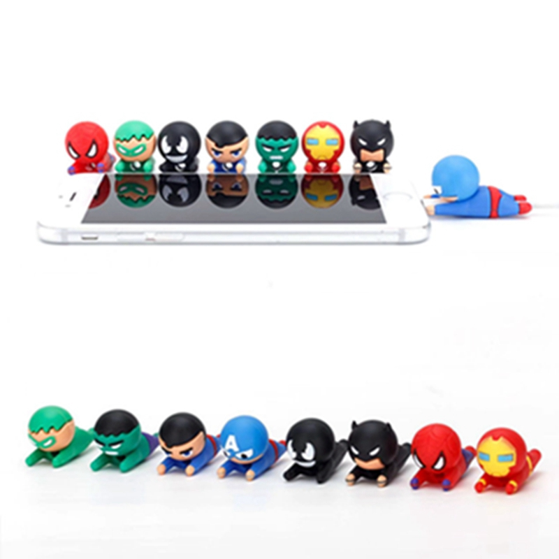 Hero Series Cable Charging Date Cable Protector Cover Captain Spiderman Ironman Cute Design Charging Cord Protector for iPhone in Cable Winder from Consumer Electronics