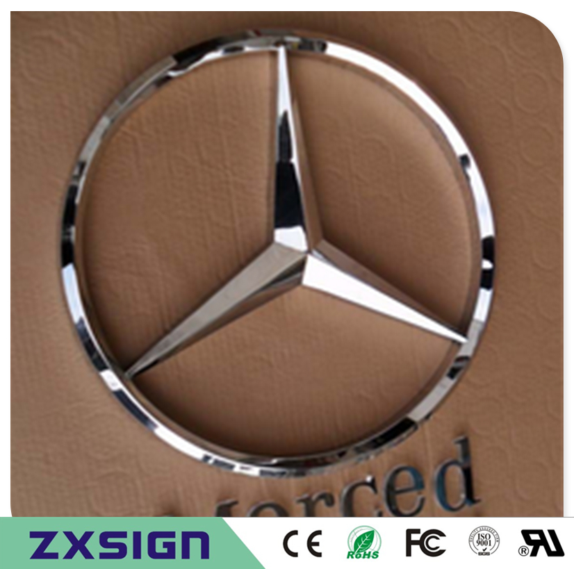 Factory Outlet Outdoor 3D stainless steel car logo, metal auto sign, 3D metal company logo, business signs