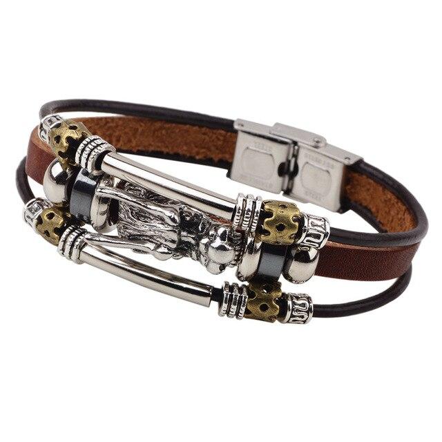 100827ab7398 Vintage dragón de cuero pulsera de plata hombre hecho a mano pulseras  brazalete para hombre Braslet
