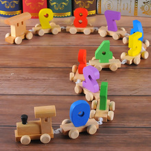 Free shipping Baby wooden Digital Small model train assembly, Classic digital 0-9 toys, Kids Educational toys Car