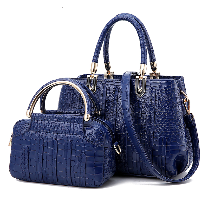81fb557f38 Wholesale Women s Cheap Leather Bag Vintage Crocodile Embossed Big Shoulder Bag  Vintage Style Handbags Female Handtassen -in Top-Handle Bags from Luggage  ...