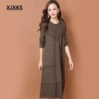 XJXKS casual vestidos mujer 2018 knitting formal dresses women elegant loose fashion high elasticity womens long sleeve dress