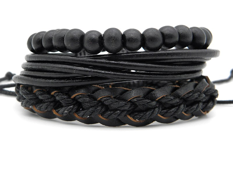 Stylish leather Braid Hemp bracelets Men's Women's Handmade Wood Beads leather Wrap Combined bracelets Jewelry Gifts 3pcs/set 15