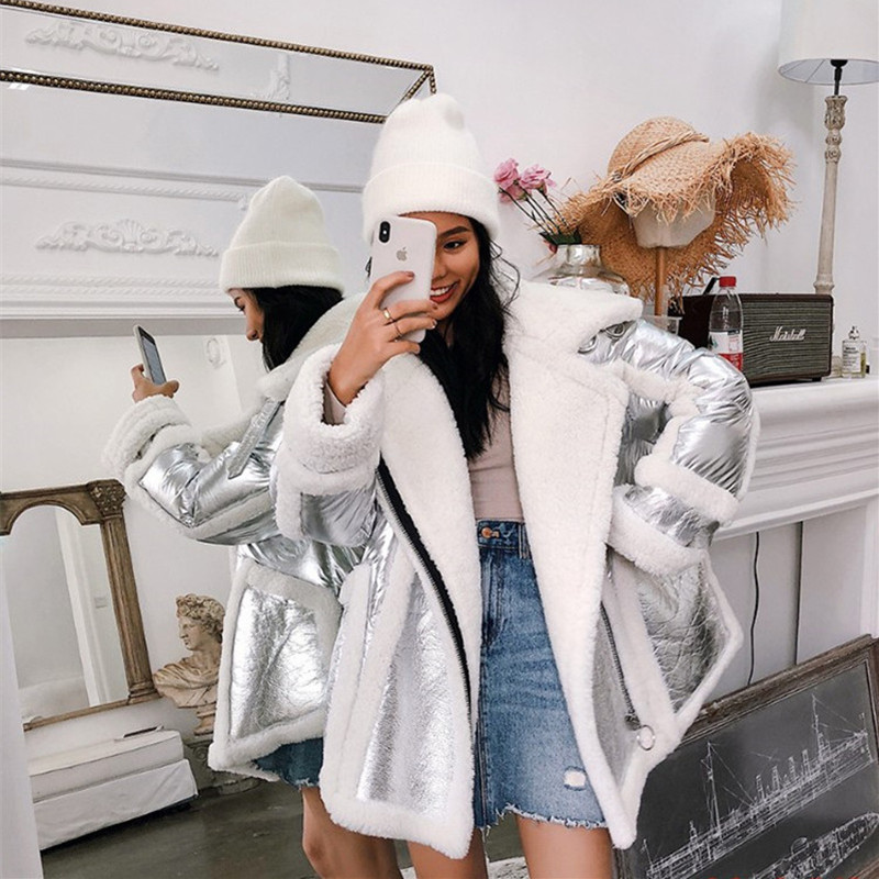 New Fashion Winter   Down   Jacket Women Real Sheep Fur Collar White Duck   Down   Parka Silver Natural Sheepskin Trim Duck   Down     Coat