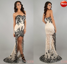 Gorgeous 2014 Off the Shoulder Lace Prom Dresses High Low Evening Dress