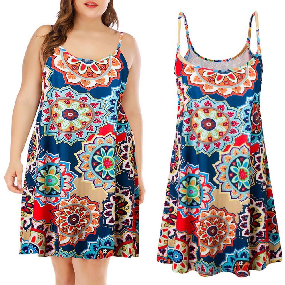 Fashion Women mini dress Plus Size Casual Printed Sleeveless Mini Dress Party 2019