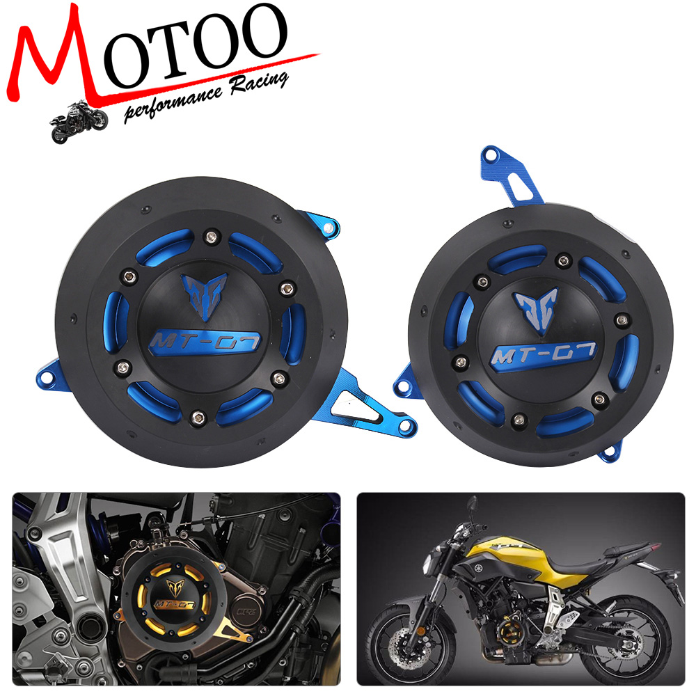 Motoo - Motorcycle Engine Stator side Case Cover Engine Cover Protector For YAMAHA FZ-07 FZ07 MT-07 MT07 for yamaha mt 07 mt 07 fz07 mt07 2014 2015 2016 accessories coolant recovery tank shielding cover high quality cnc aluminum