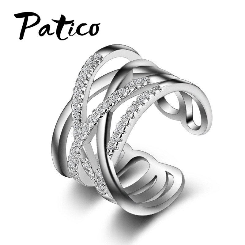 PATICO New Hot Punk Jewelry 925 Sterling Silver Austrian Crystal Weave Stylish Opening Adjustable Size Rings For Woman Girls