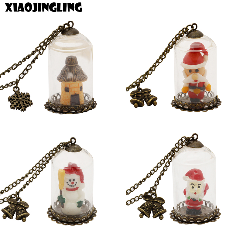 XIAOJINGLING Christmas Necklace Glass Bottle Handmade Santa Claus Pendant Necklaces Luminous Long Sweater Chain Christmas Gifts