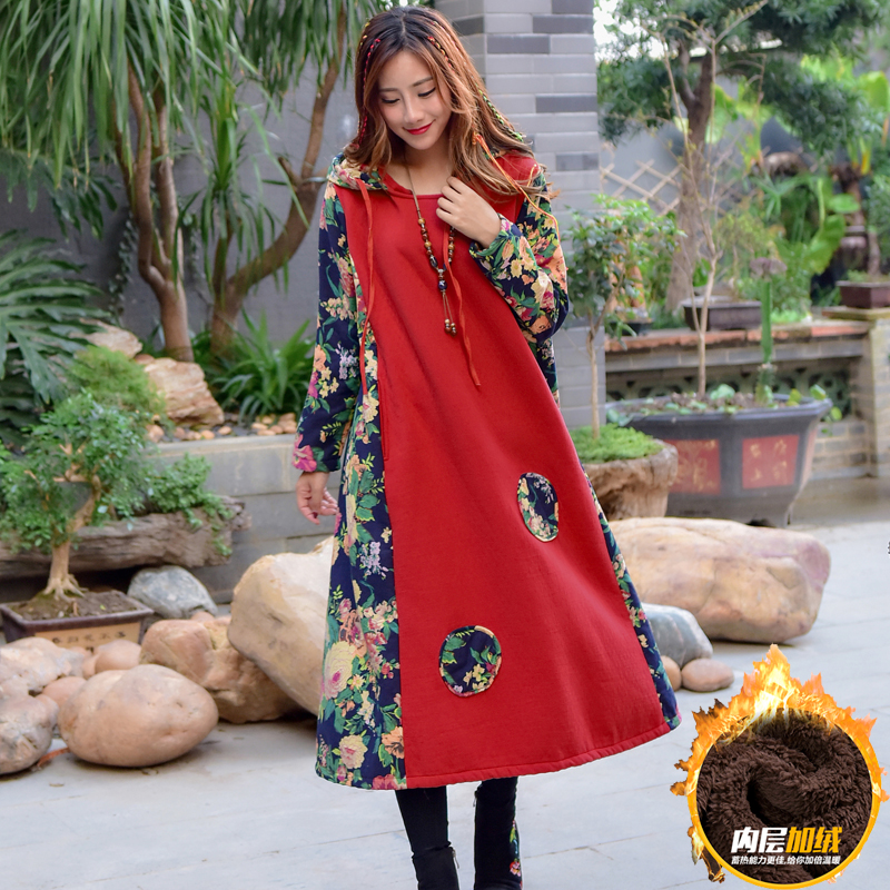 Make national maternity autumn wind cotton long sleeve top female dress a-line dress Autumn and winter ароматизатор aroma wind 002 a
