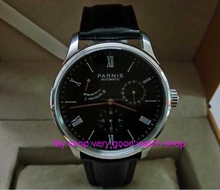 PARNIS 40mm black dial Automatic Self-Wind movement power reserve men's watch Auto Date Mechanical watches wholesale 325a sapphire 2017 new fashion parnis 45mm black dial st2557 automatic self wind movement men s watch gmt mechanical watches 291