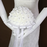 Bridal Wedding Bouquet 40pcs Bouquets Stunning Artificial Rose Foam Flower With Crystal And Ribbon Fleur Artificielle