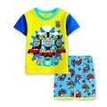 2016 Nova verão Crianças roupas casuais terno do bebê dos meninos dos desenhos animados outfit ternos dos meninos T-shirt + calças curtas conjunto de roupas Crianças w06