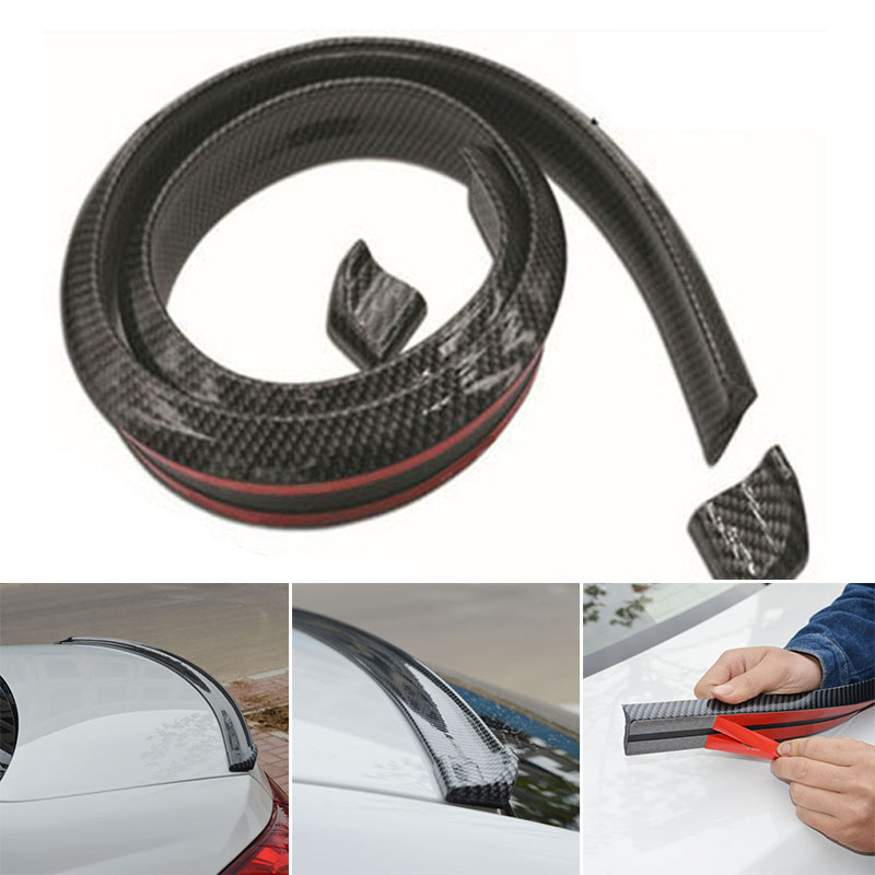Lip Sport Wing Replace Replacement Carbon Fiber look Spoiler Roll Universal Rubber Rear Roof Molding Accessory
