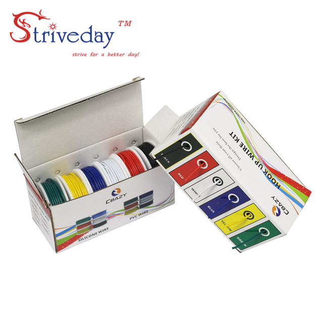 UL 1007 24AWG 60m/box Electrical Wire Cable Line 6 colors Mix Kit Airline Copper PCB Wire DIY