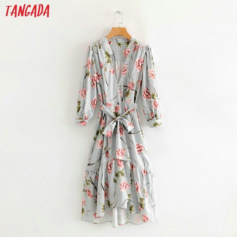 Tangada Autumn Women Green Flower Print Dresses Long Sleeve V Neck Vintage Fashion Bow Slash Asymmetric Dress Vestidos 1F62