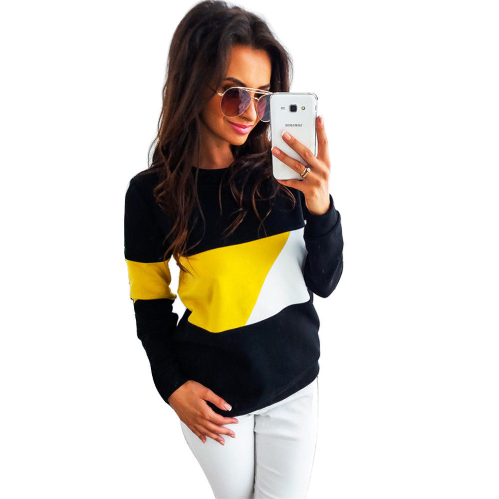 Hoodies For Women Sweatshirt Autumn Winter Clothes Casual Oversized Long Sleeve Pullover Tops O-Neck PatchWork Sweatshirt Blouse