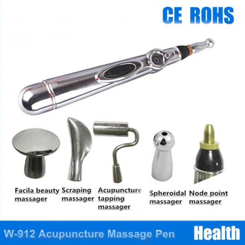 Electronic Meridian Acupuncture Pen + 5 Massage Heads Energy Pain Therapy Relief