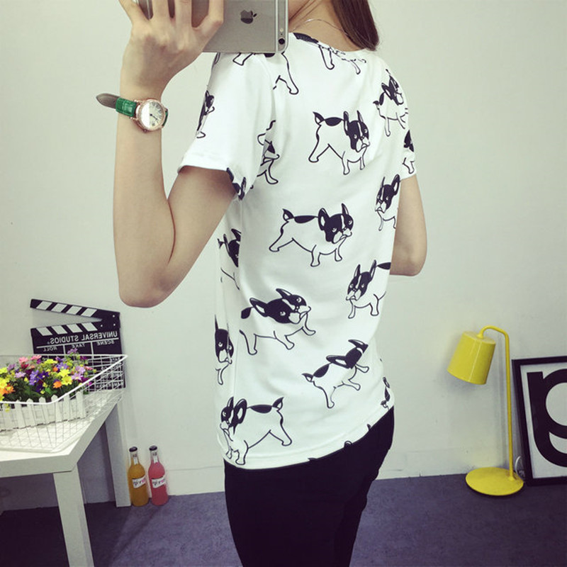 Fashion Summer Women Cartoon O-Neck Hvid Pug Printed Short Sleeve - Dametøj - Foto 4