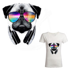 Hot musik Bulldog Sticker 25*23.3 cm patch T-shirt Dresses Sweater thermal transfer patch untuk pakaian(China)