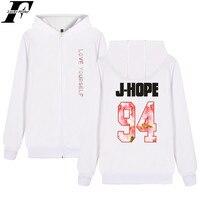 BTS LOVE YOURSELF Hoodies Autumn Winter Bangtan Boys Sweatshirt BTS Kpop LOVE YOURSELF Zipper Letter Print