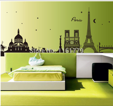 World famous buildings Sticker Room Removable Map Wall Poster Wallpaper CC6912