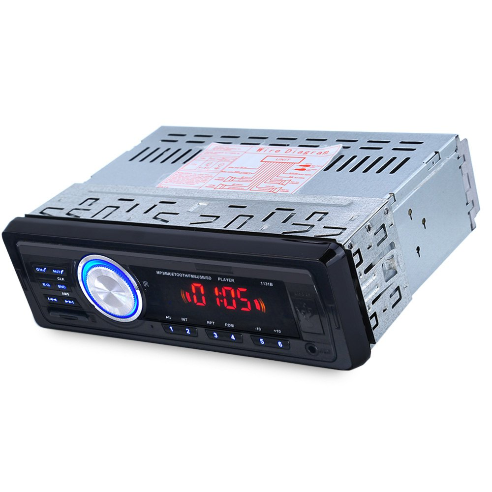 1131B 12V Car Audio Stereo FM Bluetooth V2.0 USB SD Mp3 Player AUX Mic Hands-free with Remote Control Hands-free Calls Function