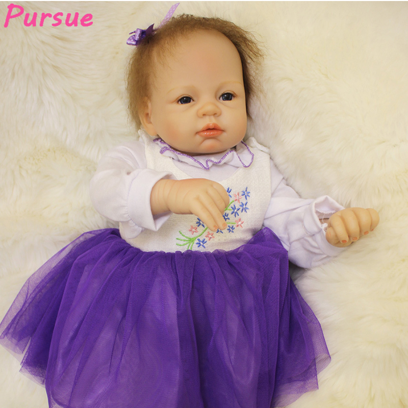Pursue 22/55 cm Purple Dress Vinyl Silicone Reborn Baby Doll Newborn Babies Toys Play House Bedtime Toy Birthday Gift for Girl квадрокоптер властелин небес послушный вн3457